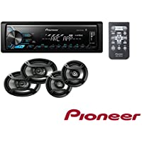 Pioneer MVH-X390BT Single Din In-Dash Digital Media Receiver w/ Pioneer ARC app W/ Pioneer TS-165P + TS-695P Two Pairs 200W 6.5 + 230W 6x9 Car Audio 4 Ohm Component Speakers