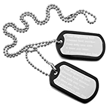 MeMeDIY Stainless Steel Pendant Necklace Rubber Double Dog Tag 23 Inch Chain ,come with Chain - Customized Engraving