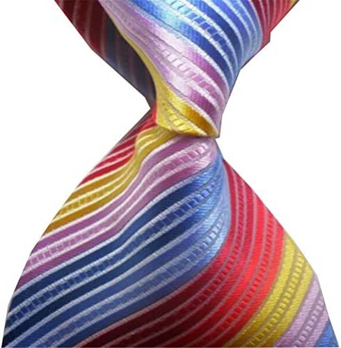 Allbebe Men's Classic Colorful Jacquard Woven Silk Tie Microfiber Formal Necktie