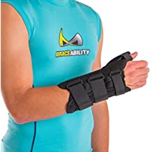 BraceAbility Thumb & Wrist Tendonitis Splint   Immobilizes Thumb Joint to Treat De Quervain's Tenosynovitis Tendon Pain, Swelling & Inflammatory Arthritis (M - Right Hand)