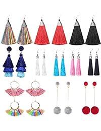 12 Pairs Long Tassel Drop Dangle Earrings Black Yellow Red Colorful Layered Hoop Earrings Fringe Bohemian Tiered Tassel Stud Earrings for Women Girls