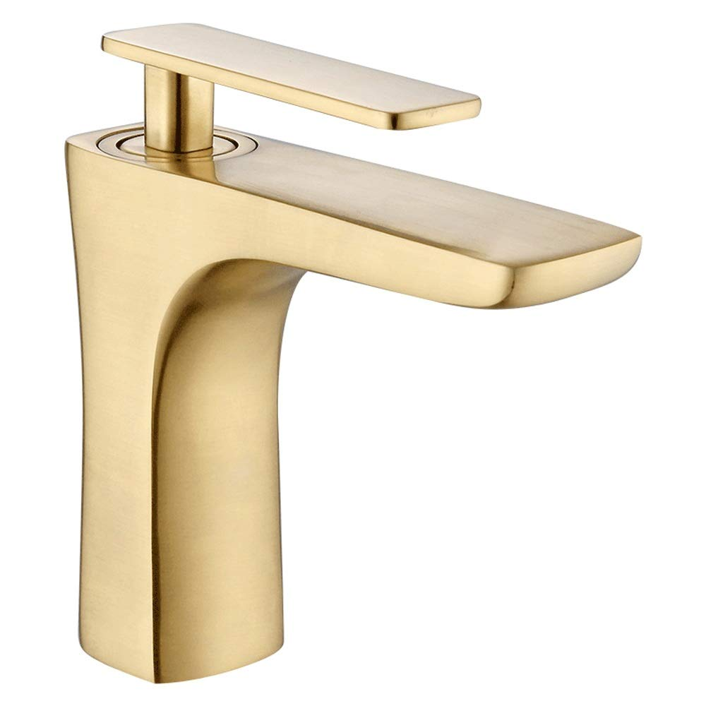 Short AXWT golden Faucet Wash Room Cloakroom Single Lever Single Hole Polished Chrome Mixer Mono Basin Taps, Taps For Bathroom Sink (Size   High)