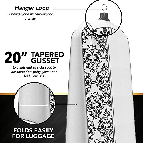 "Gusseted Wedding Dress Garment Bag - For Long Puffy Gowns - 72"" x 24"", 20"" Gusset (White with Black Damask)"