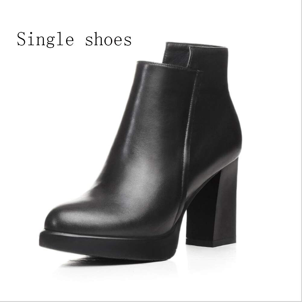 B Women's shoes, Winter Low-barreled Thick Heel Thick Heel Ankle Boots Mid-Calf Boots Formal Boots Martin Boots Party & Evening (color   B, Size   36)