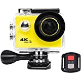Acouto HD 4k 12P 2 Inch 170°Wide Angle Wifi Action Camera Anti-Shake Sport Camera 30m underwater Camcorder DV Recorder with Controller Accessories Kit-EU Standard (Yellow)