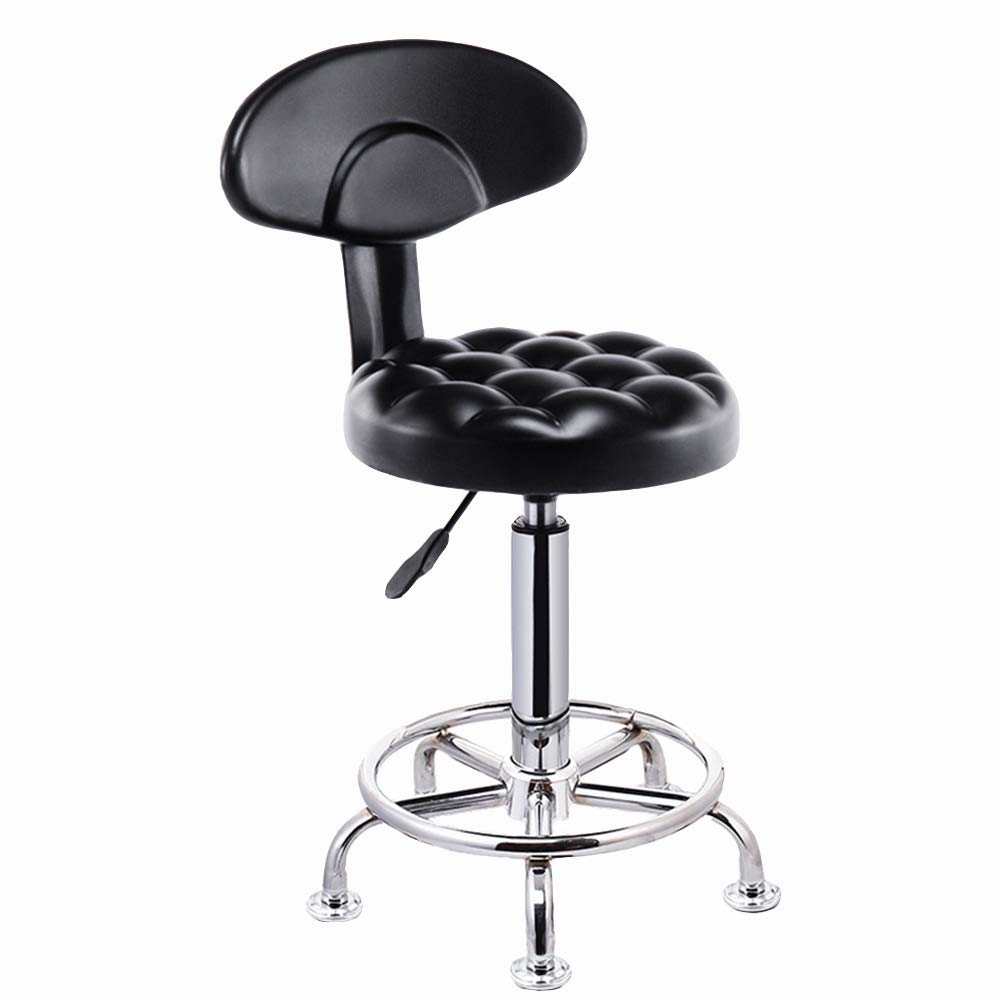 B With backrest GWDJ Bar Chair, Lifting Bar Stool, Front Desk High Stool, with Backrest, Beauty Round Stool, Black Reinforced Footrest (color   C, Size   Without backrest)