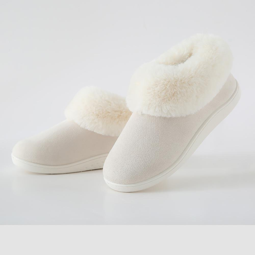 TX Damen Hausschuhe Winter Dicker Boden Plus Kaschmir Indoor Rutschsicher Woolen Schuhe , Bare powder , 39-40 Bare Powder
