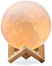 Redlemon Lámpara de Luna en Impresión 3D, Réplica Exacta de la Superficie Lunar, 2 Colores de Luz LED y Diferentes Intensidades, Batería Recargable, Base de Madera, Portátil. Chica (12 cm)