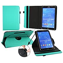 Emartbuy® Alcatel One Touch POP 7 Tablet Universal ( 7 - 8 Inch ) Padded Design Emerald Green 360 Degree Rotating Stand Folio Wallet Case Cover + Turquoise Stylus