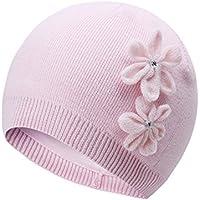 vivobiniya Toddler Girl's Winter Knitted Cap Flower Hat Pink and White 0-6T