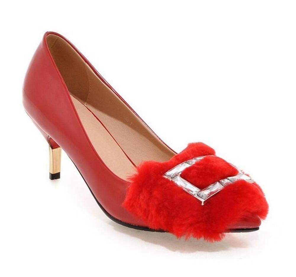 XIE Zapatos de Tacón Alto para Mujer con Punta Fina de Diamante con Sandalias de Tacón Alto, Red, 36 RED-36