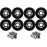 OUTDOOR Inline Skate Wheels 80MM 89a BLACK x8 W/ ABEC 9 BEARINGS
