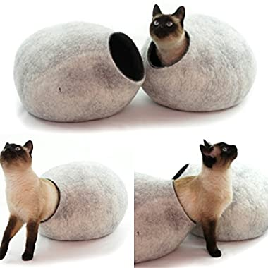 Cat Bed, House, Cave, Nap Cocoon, Igloo, 100% Handmade fro sheep wool , Kivikis Snow Grey Large