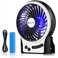 WoneNice Battery Operated Fan, Rechargeable Fan with 2200 mAh Battery, 3 Speeds Internal and Side Light, Cooling for Travel,Camping,Boating,Fishing