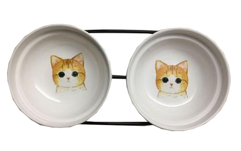 Little Double Bowls Set Ceramic Feeding Pot Pet Bowls Dog Bowls Cat Bowls for Food & Water S Size(C 02)