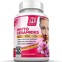 BRI Nutrition Phytoceramides - Natural Anti-Aging Skin & Hair Vitamins for Collagen Boost & Rejuvenation w Vitamins A + C + D + E - 350mg per serving ( 1 Vegetable Capsule )