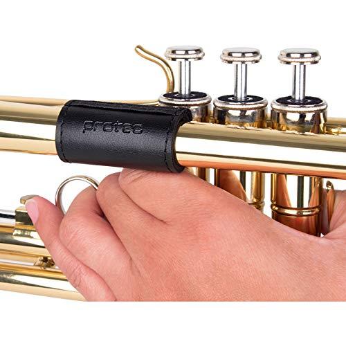 Protector de dedos de cuero acolchado para trompeta negro