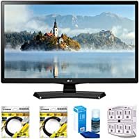 LG 24 Class 23.6 Diag HD 720p LED TV 2017 Model (24LJ4540) with 2x 6ft High Speed HDMI Cable, Screen Cleaner for LED TVs & Stanley 6-Outlet Surge Adapter with Night Light
