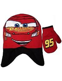 Beanie Cap - Disney - Cars McQueen Face w/Ears Hat & Mitten Set New 301337