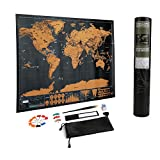 LEADSTAR Scratch Off World Map,Mini World Map Poster Deluxe Edition Scratch Off World Map Personalised World Map Poster Tracker with Accessories Kit, Travel Gift Or Home and Office Decor