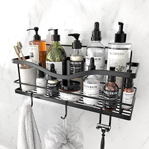 KINCMAX Shower Caddy Basket Shelf with Hooks, Caddy Organizer Wall Mounted Rustproof Basket with Adhesive, No Drilling, 304 Stainless Steel, Storage Rack for Bathroom Shower Kitchen -Black…