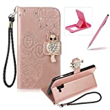 Strap Leather Case for Samsung Galaxy A8 2018,Diamond Rose Gold Wallet Flip Case for Samsung Galaxy A8 2018,Herzzer Stylish 3D Owl Magnetic Closure Cute Owl Printed Stand Shockproof Card Slots Folio PU Leather Back Case with Soft Silicone