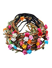 12pcs Baby Girl Fashion Bohemian Flower Crown Floral Garland Headbands For Girls