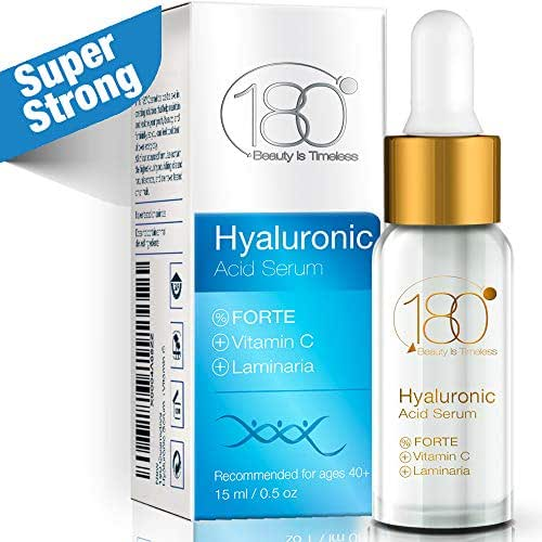 Hyaluronic Acid & Vitamin C Facial Serum Forte - 180 Cosmetics - Super Concentrated Anti Aging Hyaluronic Serum for Immediate Results - Night Serum - For Mature Skin Wrinkles & Fine Lines
