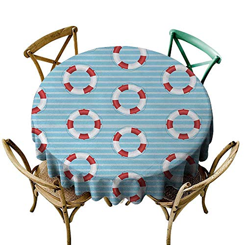Wendell Joshua Mermaid Tablecloth 60 inch Buoy,Life Preserver Crisis Security Lifejacket Lifeguard Danger Protection Symbols,Baby Blue Red White Suitable for Indoor Outdoor Round Tables