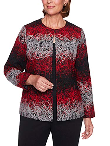 Alfred Dunner Women's Petite Cardigan Jacket with Jacquard Print, Multi 6P