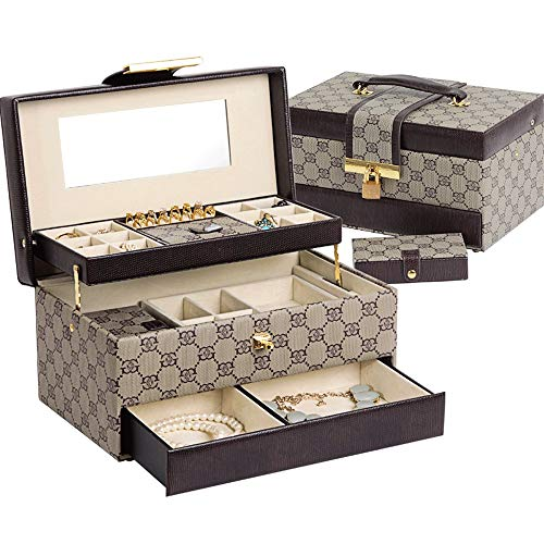Jumedy Caja de joyería Princesa Caja de Almacenamiento de joyería Europea Corea Caja de Almacenamiento de joyería Caja de...