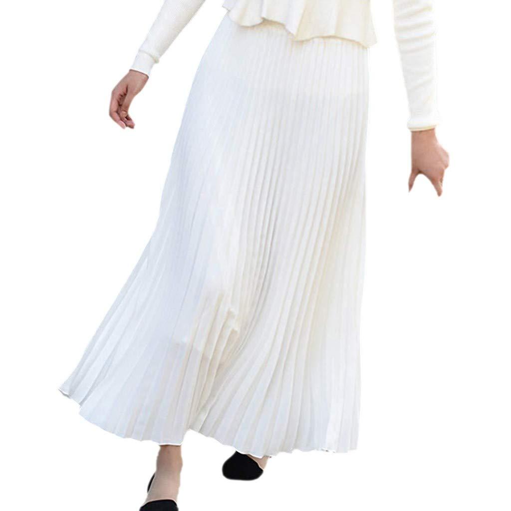 100% authentic e88fc dcbbd Weant Röcke Damen Lange Sommer Elegant Falten Einfarbig Hohe ...