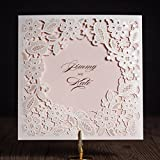 50pcs Wishmade White and Pink Square Laser Cut Wedding Invitations Kits with Embossed Hollow Flowers Bridal Shower Engagement Birthday Party Greeting Cards (Set of 50pcs)