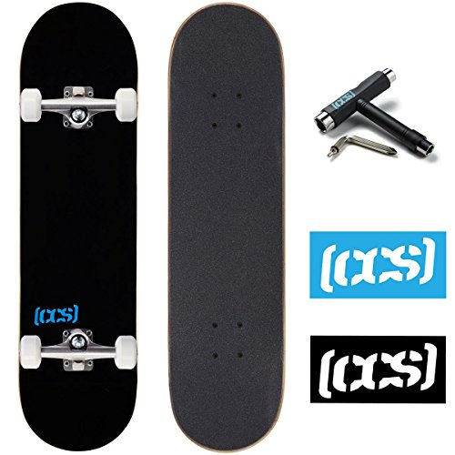 CCS Logo and Natural Wood Skateboard Completes - Fully Assembled (Black, 8.0)