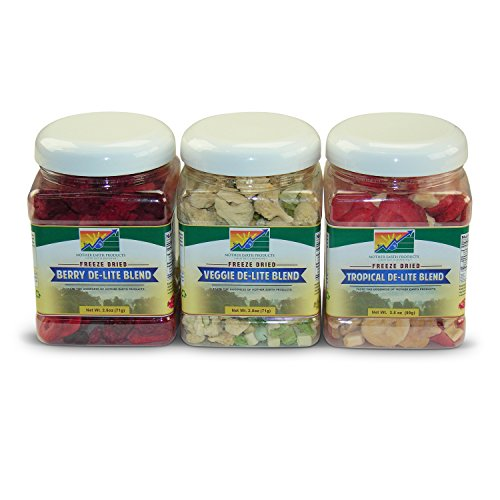 Mother Earth Products Freeze Dried De-lite Blends Value Medley: Tropical, Berry, and Veggie Quart Jars