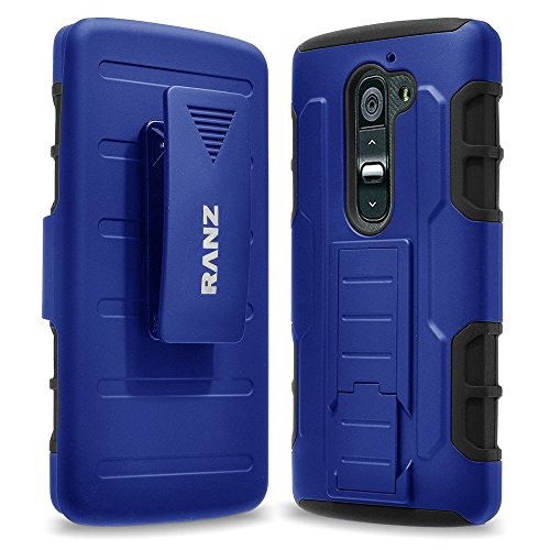 LG G2 Case, RANZ BLUE Rugged Impact Armor Hybrid Kickstand Cover with Belt Clip Holster Case For LG G2(AT&T D800, T-Mobile D801,Global D802) with Touch Stylus