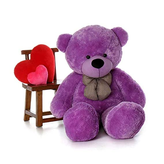 Frantic Premium Quality Soft Huggable Teddy Bear Plush Stuffed Toy with Neck Bow (Purple,3 Ft).
