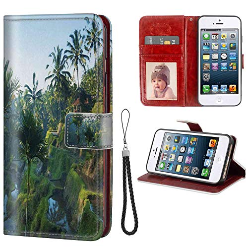 (mophinda Phone Wallet Case Fit for Apple iPhone 5 iPhone SE iPhone 5S [5.5in] Balinese,Terrace Rice Fields Palm Trees Traditional Farmhouse Morning Sunrise Bali Indonesia,Green Sturdy)