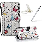 Strap Leather Case for LG Stylus 2,Wallet Stand Flip Case for LG G Stylo 2,Herzzer Bookstyle Stylish Pretty 3D Colorful Butterfly Pattern Magnetic PU Leather with Soft Silicone Inner Back Case for LG Stylus 2/G Stylo 2 LS775