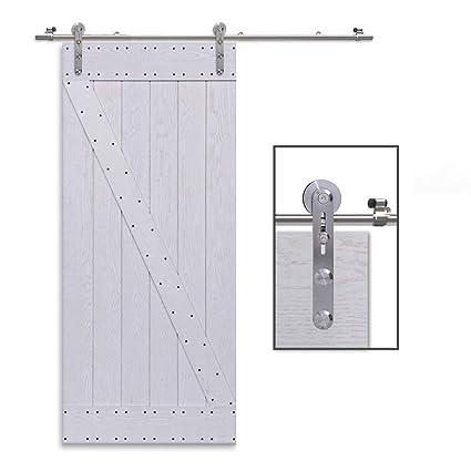 CCJH 6.6FT-200cm Acero Inoxidable Herraje para Puerta Corredera Kit de Accesorios para Puertas