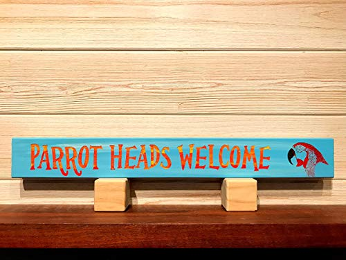 Parrot Heads Welcome with Parrothead Wall Plaque Laser Engraved Personalized Custom Beach Sign 162 by SignsByAllSeasons