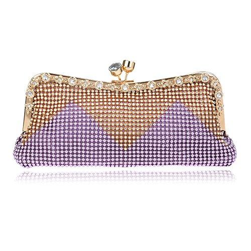 Diamantes Día de Bag Handbags Pequeña Cadena Cuentas Tutu de Shouler Las de Messenger Bolsos Crystal Mujeres Wedding Red con Noche de purple Embrague zqx0Cdw