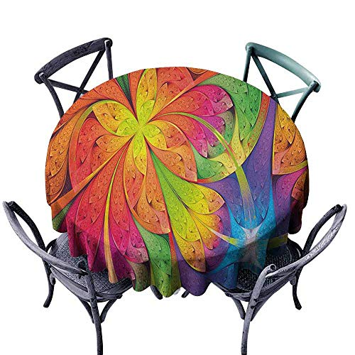 HOMEDECORATIONS Microfiber Round Tablecloth Picnic Cloth Fractal,Vibrant Rainbow Colored Floral Pattern with Vivid Contrast Curved Leaves Artisan Print, Multi Diameter 54