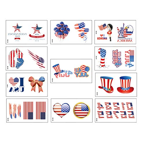 - Lurrose 55 Sheets Patriotic Temporary Tattoos Waterproof Independence Day Sticker for Children & Adults face Art Sticker for Parties