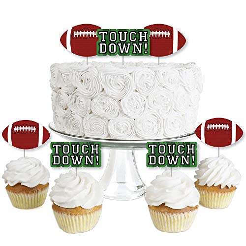 - End Zone - Football - Dessert Cupcake Toppers - Baby Shower or Birthday Party Clear Treat Picks - Set of 24