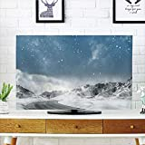 iPrint LCD TV dust Cover Customizable,Winter,Seasonal Computer Generated Image Mountains Snowy Road Curved Road Transportation,Graph Customization Design Compatible 47'' TV