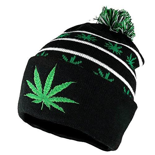 Armycrew Marijuana Leaf Pom Pom Acrylic Beanie Hat - Black Kelly Green