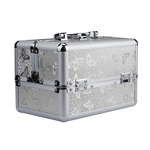 Beauty Box,Han Shi Cosmetic Make Up Nail Vanity Jewellery Saloon Case Bag (Silver, - Womens Wearhouse