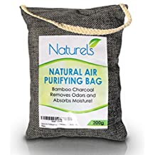 Natural Air Purifying Bag - Bamboo Charcoal Naturally Removes Odours and Moisture, Freshening the Air! Quality Linen Bag with Convenient Rope for Hanging - Chemical Free and Scent Free! 200g
