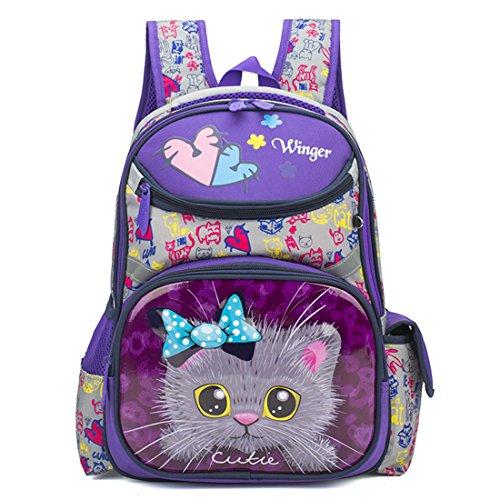 - Debbieicy Cute Cat Face Printing Backpack Waterproof Princess School Bag Kids Bookbag for Primary Girls (Purple cat)